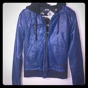 Volcom Blue Leather Jacket